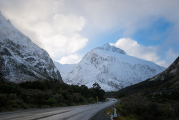 Mountains near New Zealand's South island milford Sound