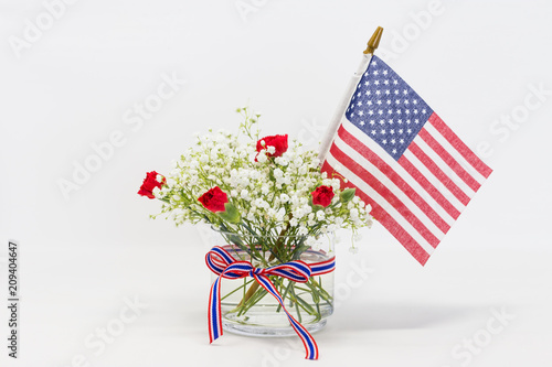 Red and white flower and us flag against white background stock red and white flower and us flag against white background mightylinksfo