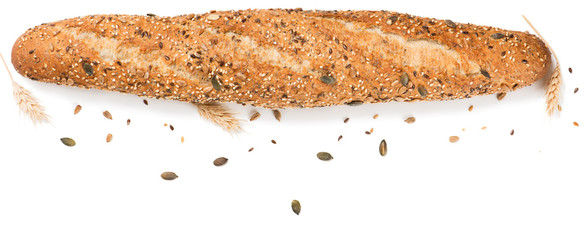 Fresh baguette with cereals, top view.