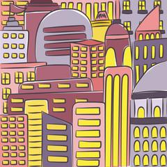 Urban modern landscape. Hand drawn colorful line sketch. illustration