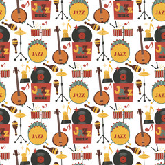 Jazz musical instruments tools background jazzband piano saxophone music seamless pattern sound vector illustration rock concert note.