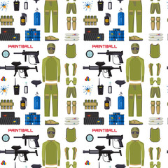 Paintball club protection uniform sport game seamless pattern background design equipment target vector illustration
