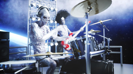 Alien rock party on space ship. Concert. Guitar, bass and drum play. Earth background. Alien funny concept. 3d rendering.