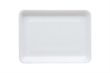 Fototapeta white food tray made from polystyrene foam isolated background with clipping path obraz