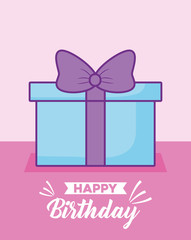 happy birthday celebration card with gift presents vector illustration design