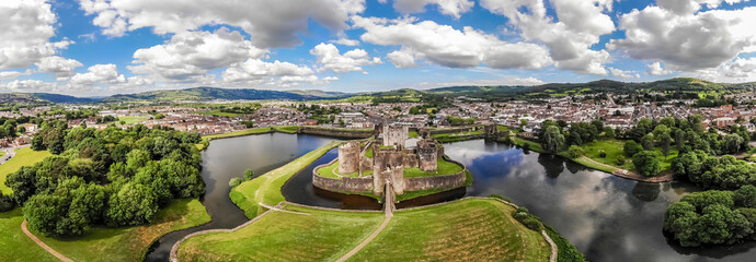 Aerial view of Caerphilly castle in summer, Wales