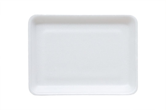 white food tray made from polystyrene foam isolated background with clipping path
