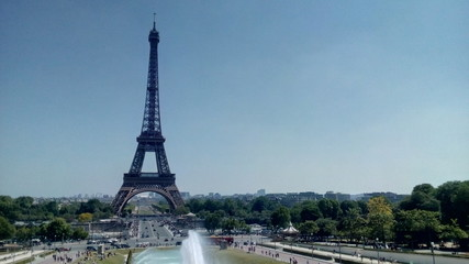 View of Eiffel Tower from Jardins du Trocadero in Paris, France.