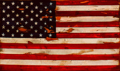 Illustration -distressed American flag of old boards - background or element