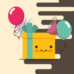 yellow gift box kawaii hat party and balloons happy birthday card vector illustration