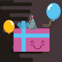 kawaii pink gift box party hat and balloons happy birthday card vector illustration