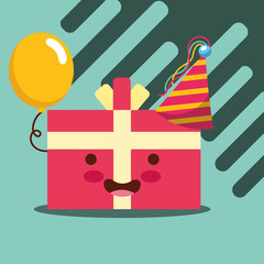 kawaii wrapped gift box hat and balloon happy birthday card vector illustration