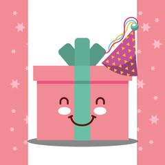 kawaii cartoon gift box party hat celebration happy birthday card vector illustration