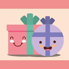 round and square kawaii gift boxs cartoon happy birthday card vector illustration