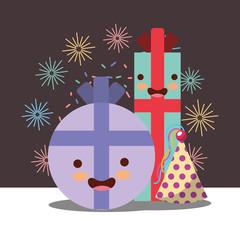 kawaii gift box cartoon hat party lights decoration happy birthday card vector illustration