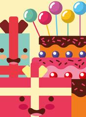 kawaii gift boxes cartoon sweet cake bubbles decoration happy birthday card vector illustration