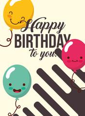 kawaii cartoon gift presents decoration happy birthday card vector illustration
