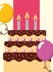 delicious cake with candles flame and balloon happy birthday card vector illustration