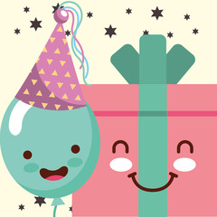 kawaii gift box cartoon and smile balloon hat party happy birthday card vector illustration