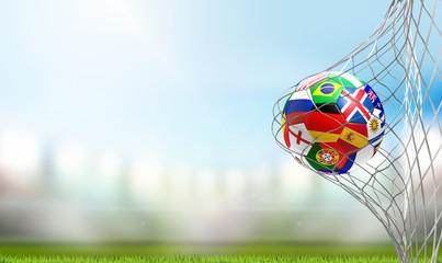flag of Russia design soccer goal. soccer ball in soccer net 3d rendering