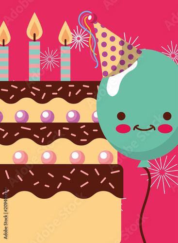 Kawaii Green Balloons And Cake With Candles Happy Birthday Card