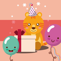gift box kawaii balloons cute tiger with party hat happy birthday vector illustration