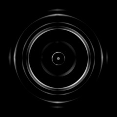 Abstract white circular lens on black background