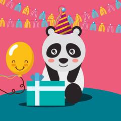 gift box kawaii balloon cute panda with party hat and pennant happy birthday vector illustration