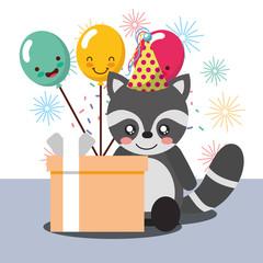 gift box kawaii balloons cute raccoon party hat happy birthday vector illustration
