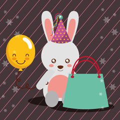 gift bag kawaii balloon cute bunny party hat happy birthday vector illustration