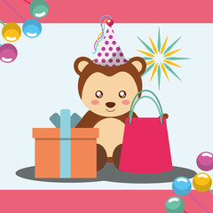 gift box and bag cute monkey party hat happy birthday vector illustration