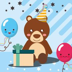 gift box kawaii balloons cute bear party hat happy birthday vector illustration