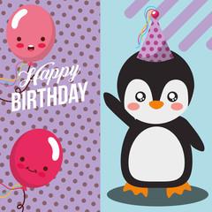 little penguin and balloon kawaii celebration happy birthday vector illustration