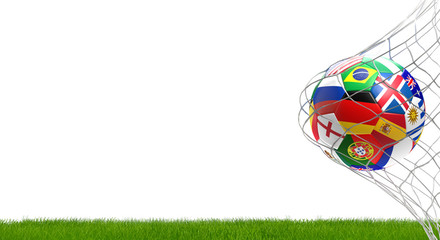 Russian Germany and more soccer ball green grass 3d rendering