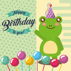 little frog and balloons in stick celebration happy birthday vector illustration
