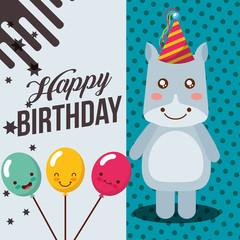 little hippo and balloons smile cartoon celebration happy birthday vector illustration