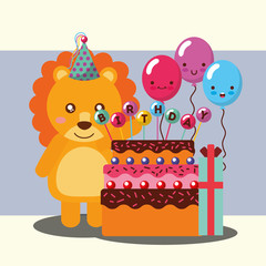 little lion celebrating cake balloons gift happy birthday vector illustration