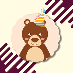 cute bear teddy party hat decoration label happy birthday vector illustration