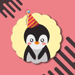 cute penguin party hat decoration label happy birthday vector illustration
