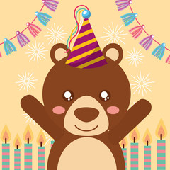 cute bear candles decoration happy birthday greeting card vector illustration