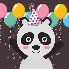 cute panda balloons confetti happy birthday greeting card vector illustration