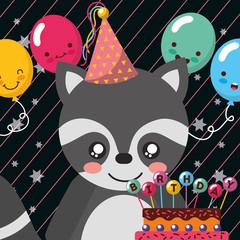 cute raccoon cake balloons happy birthday greeting card vector illustration
