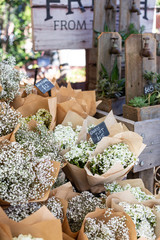 Bunches of pretty flowers at a Market in Sydney, Australia
