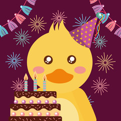 cute duck and cake happy birthday greeting card vector illustration