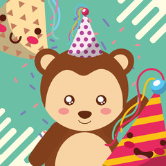 cute monkey party hat happy birthday greeting card vector illustration