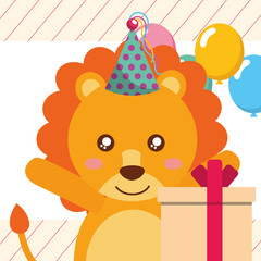 cute lion gift box balloons happy birthday greeting card vector illustration