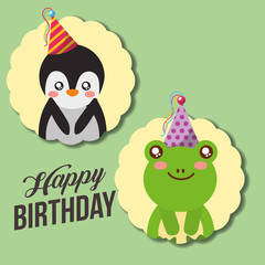 cute happy birthday card funny penguin and frog vector illustration