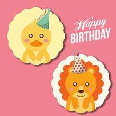 cute happy birthday card funny duck and lion vector illustration