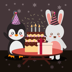 happy birthday party card cute penguin and bunny animals vector illustration