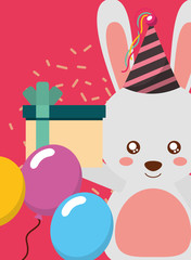happy birthday card and cute little rabbit and gift vector illustration